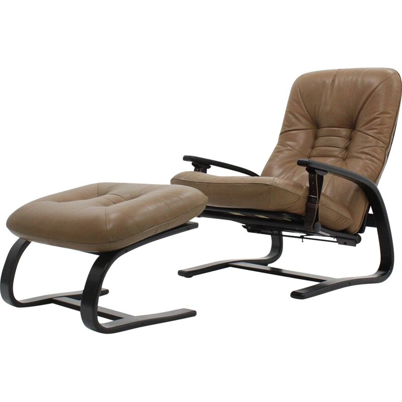 Exclusiv leather armchair with ottoman De Sede 1970s