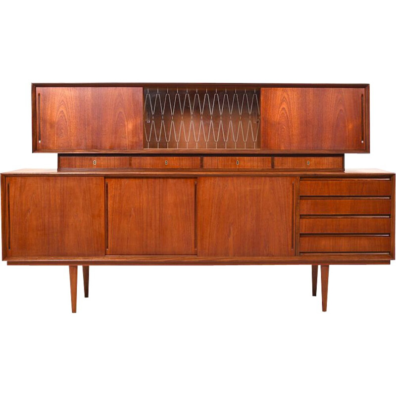 Vintage Danish Teak Sideboard with Top-Cabinet