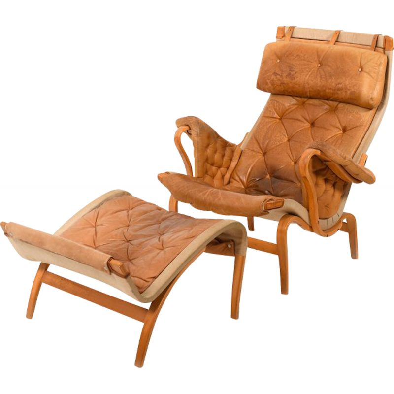 Pernilla Lounge Chair in Cognac by Bruno Mathsson 1970s