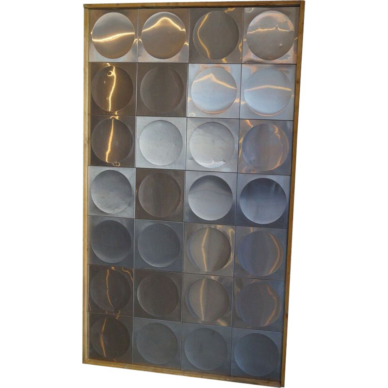 Large decorative vintage panel in wood and metal 1970s