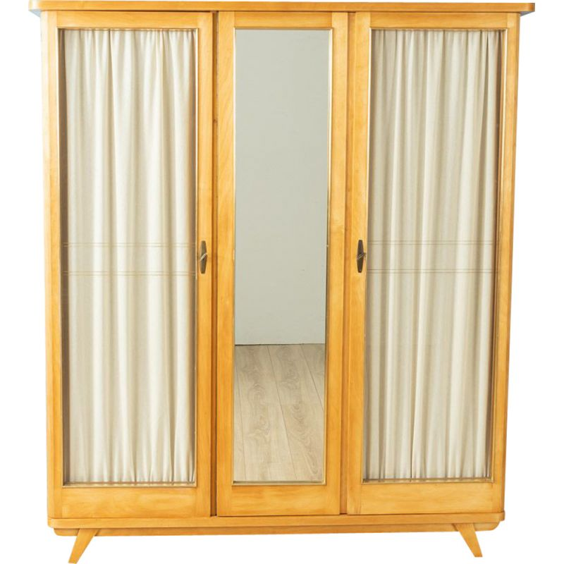 Vintage Wardrobe in ash veneer with three doors 1950s