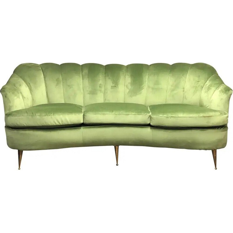 Mid-Century Green Velvet and Brass Italian Curved Sofa 1950