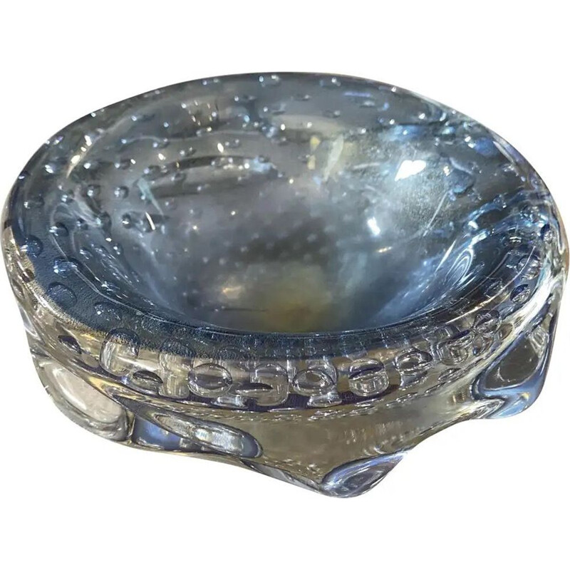 Mid-Century Modern Blue and Gold Murano Glass Ashtray circa 1960