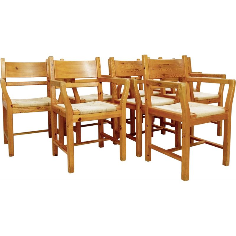 Set of 8 vintage Danish pine and rope chairs1980