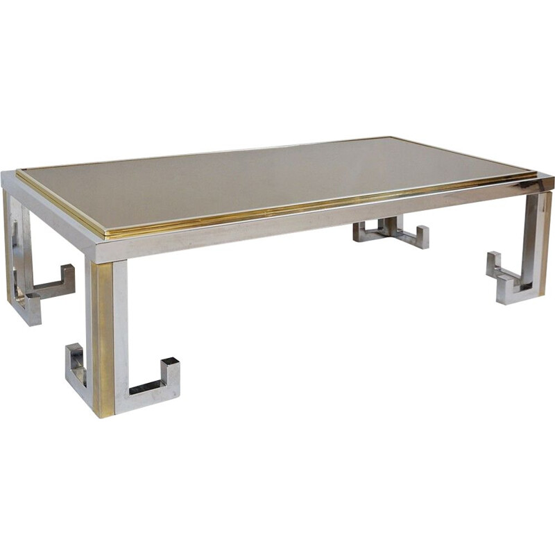 Chrome And Brass Coffee Table With Smoked Mirror Tabletop