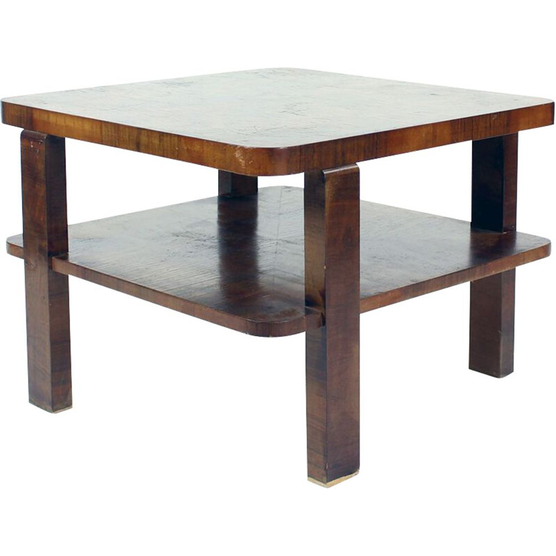 Art Deco Square Coffee Table In Walnut Veneer, Czechoslovakia 1930s