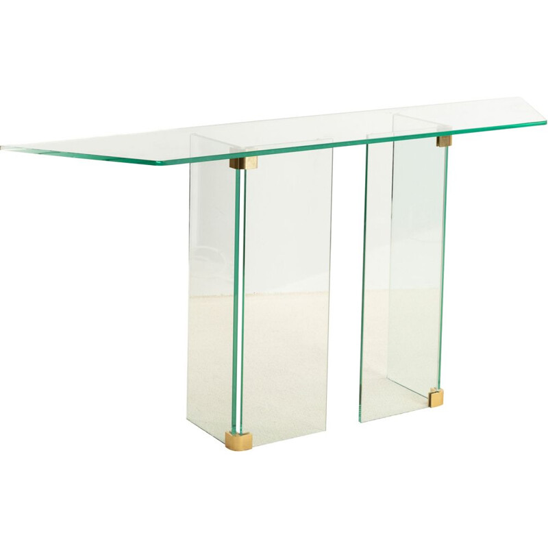 Vintage glass and brass console table circa 1970