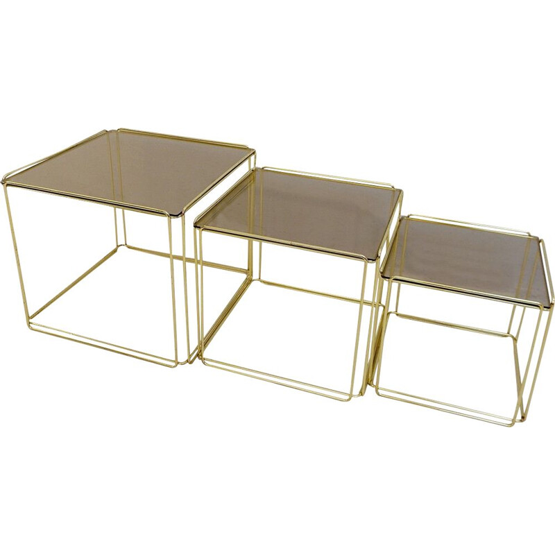 "Set of three golden nesting tables ""Isosceles"" by Max Sauze In For Atrow. 1970"