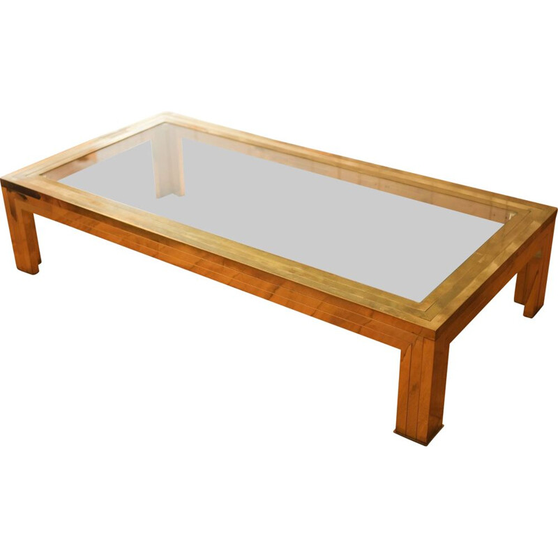 Brass coffee table by Romeo Rega 1970