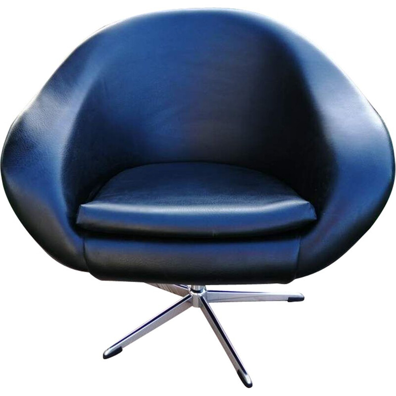 Vintage swivel blue armchair
