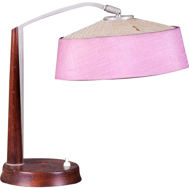 Danish Teak and Metal Table Lamp, 1950s