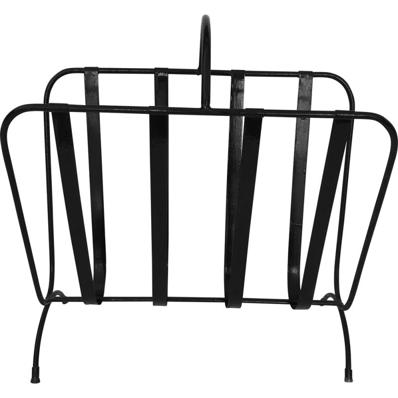 Black lacquered metal magazine rack, circa 1950