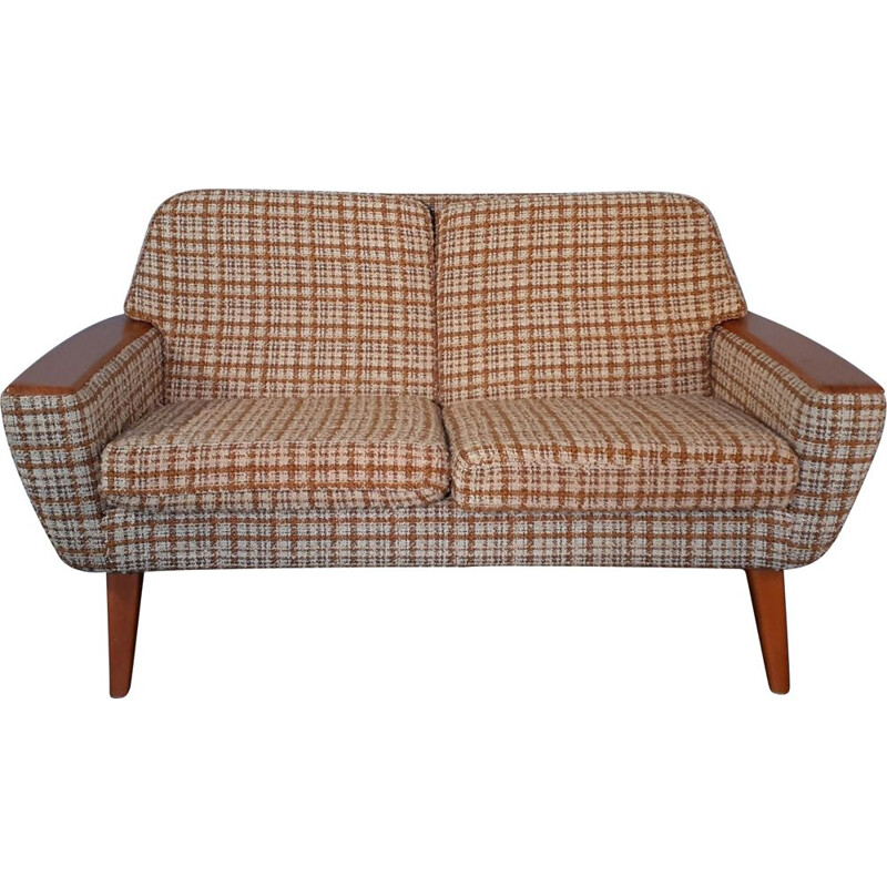 Norwegian Wool Beige and Teak Sofa, Scandinavian Vintage 1960s