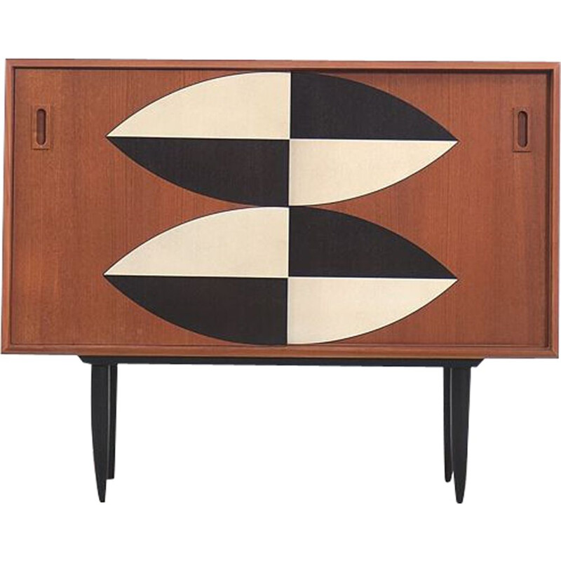 Mid-Century Teak Cabinet with Hand-Painted Pattern, 1960s