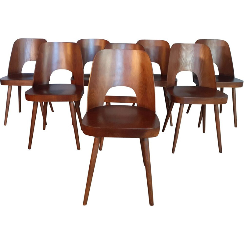 Set of 8 vintage Oswald Haerdtl Walnut Chairs 1955s