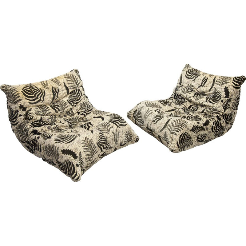 Pair of Michel Ducaroy's vintage togo warmers for Ligne Roset 1973s