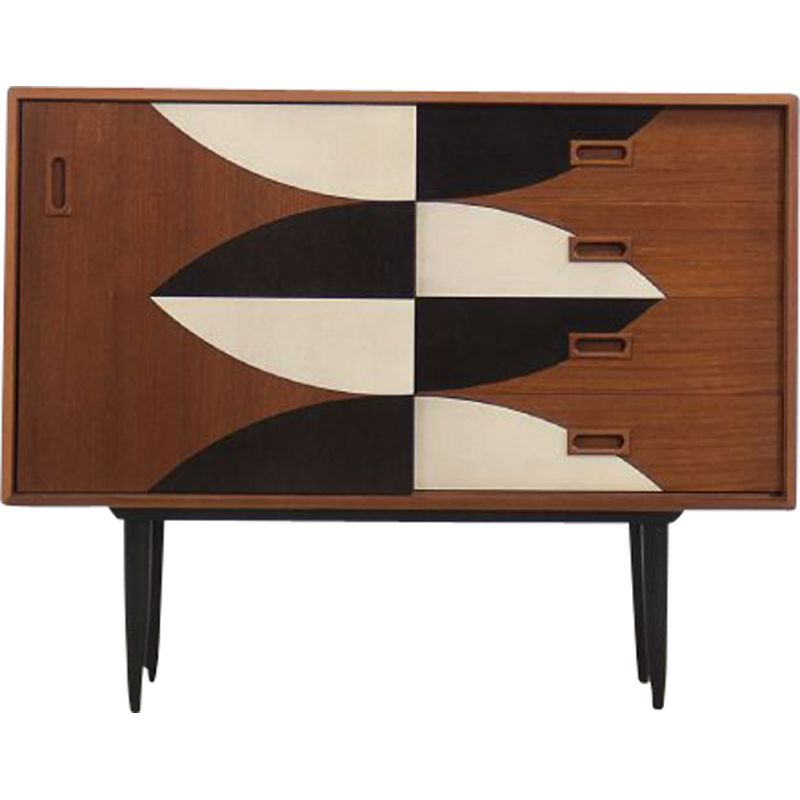 Mid-Century Teak Chest of Drawers with Hand-Painted Pattern 1960s