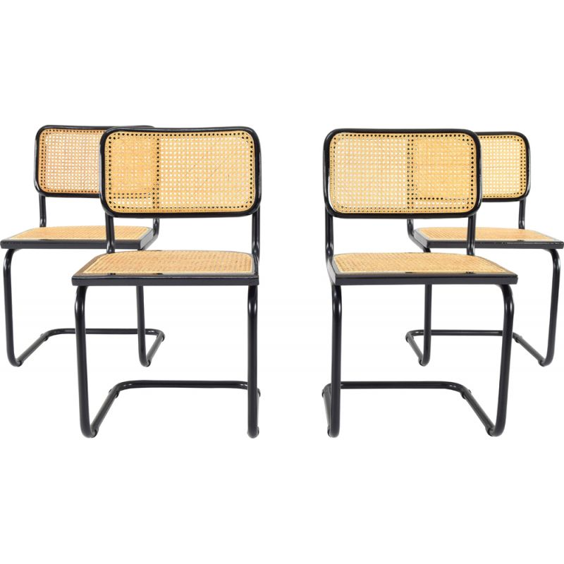 Set of 4 Black Vintage Marcel Breuer B32 Cesca Chairs, Italy 1970