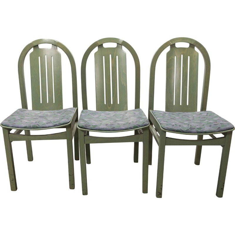 Set of 3 vintage Baumann Argos green chairs 1990