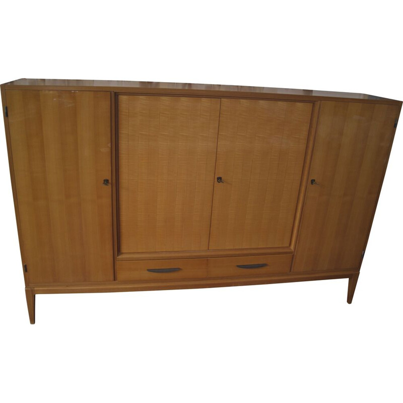 Vintage Cherrywood highboard with bar cabinet from the 1950s