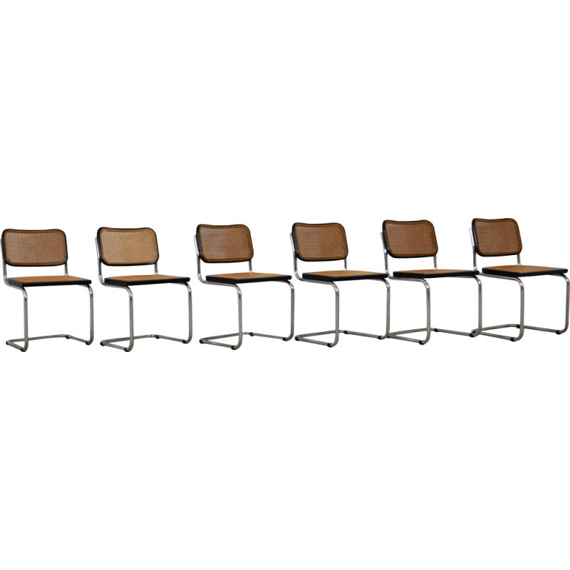 Set of 6 vintage Cesca Black Dinning Chairs By Marcel Breuer