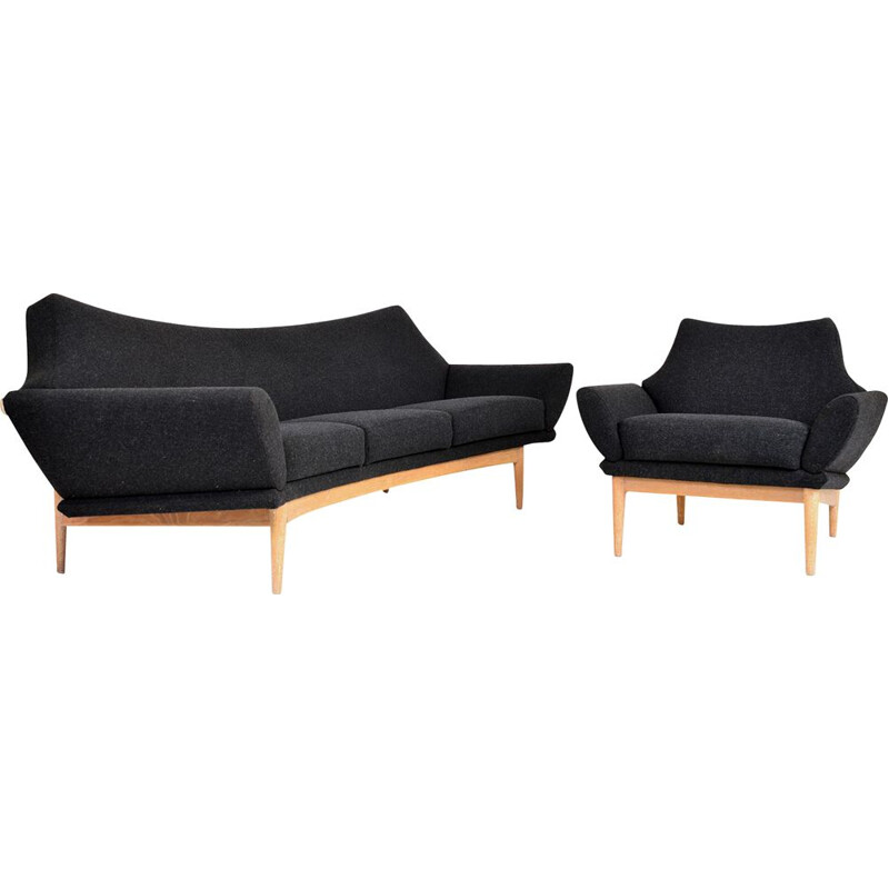 Vintage Swedish Oak Curved Sofa and Chair Johannes Andersen Trensums 1960s