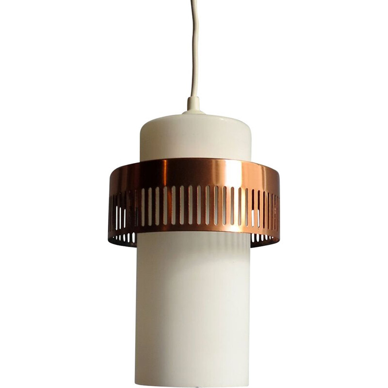 Vintage opaline and copper pendant lamp 1950s