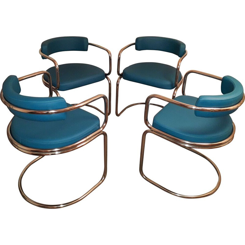 Set of 4 vintage tubular armchairs
