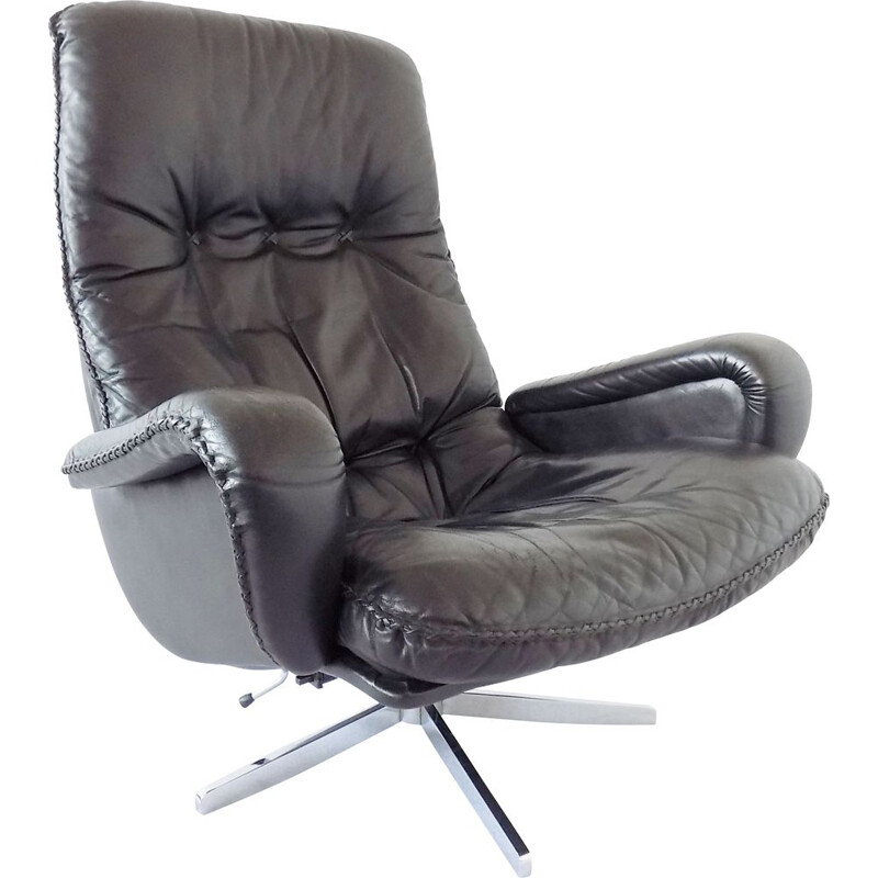 Vintage James Bond Chair black leather armchair 1969s