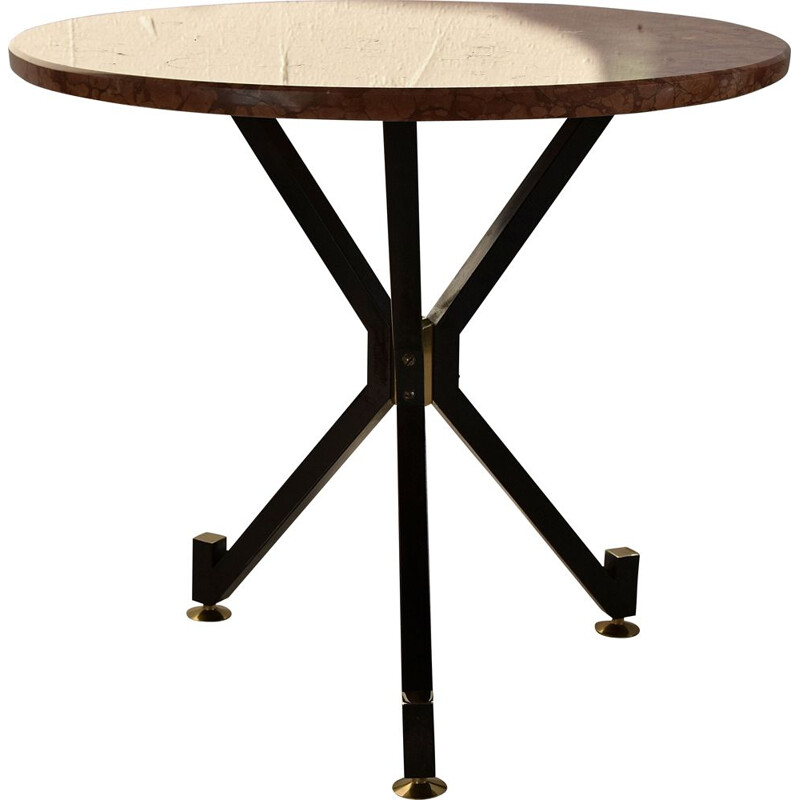 Vintage brass and marble side table 1950s