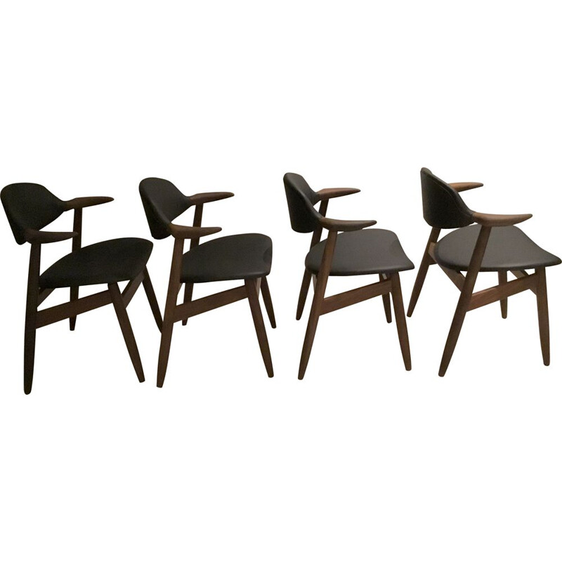 Set of 4 vintage Cowhorn Dining Chairs from Tijsseling Nijkerk 1950s