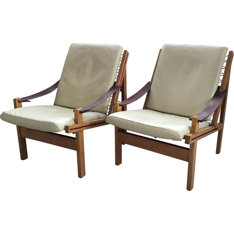 Pair of vintage Norwegian Leather Lounge Chairs by Torbjørn Afdal for Bruksbo 1960s