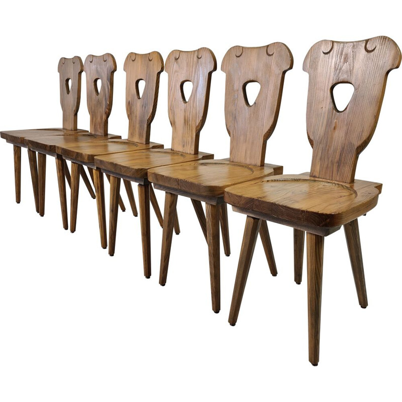 Set of 6 vintage Brutalist Swedish pine chairs with octagonal tapered legs 1960s