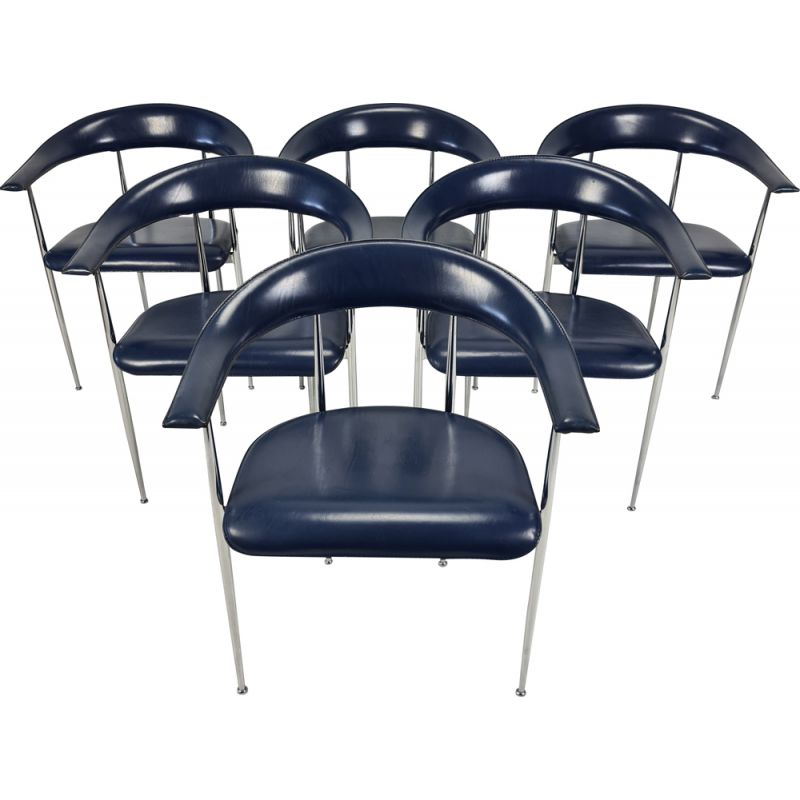 Set of 6 vintage chrome-plated Fasem armchairs 1980s