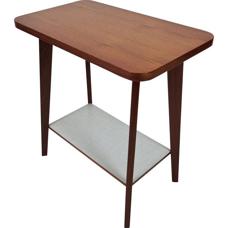 Vintage Teak & formica side table with tapered legs 1950s