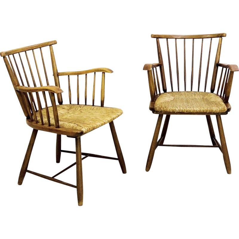 Pair of vintage Ash And Rush Seats Armchairs By Arno Lambrecht For WK Mobel 1950s