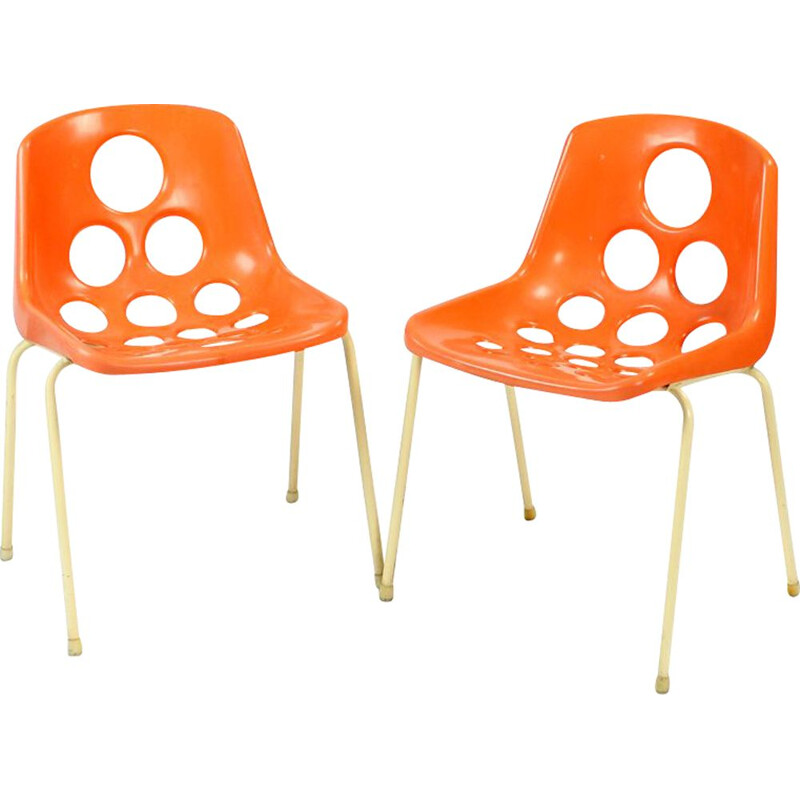 Pair of 2 Midcentury Chairs By M. Paris For Sicopal 1972s