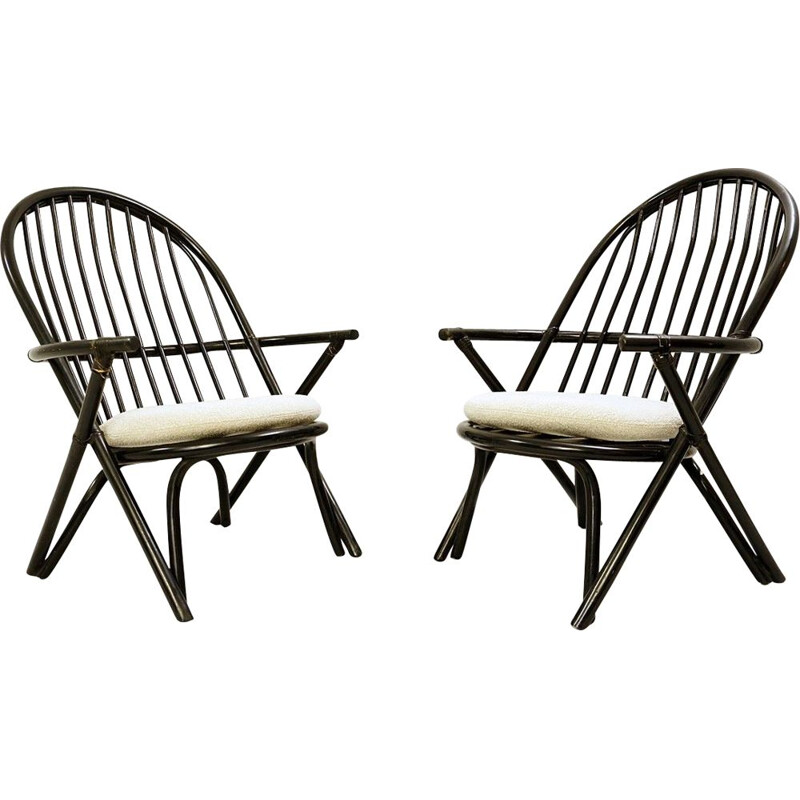 Pair of vintage black lacquered rattan armchairs