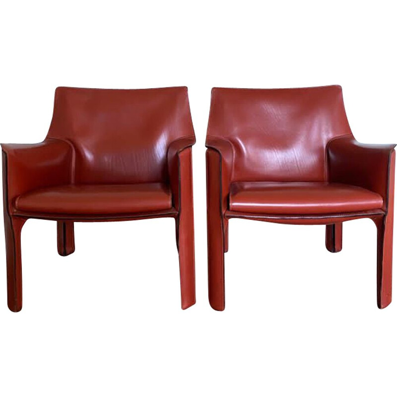 Pair of vintage ark Red Armchairs by Mario Bellini for Cassina