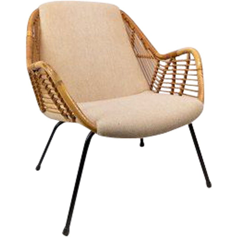 Danish Armchair upholstered with light fabric in wood 1950s