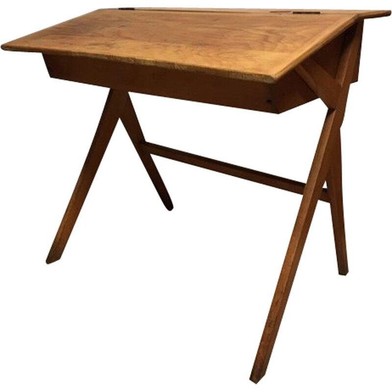 Vintage school desk with compass base 1960