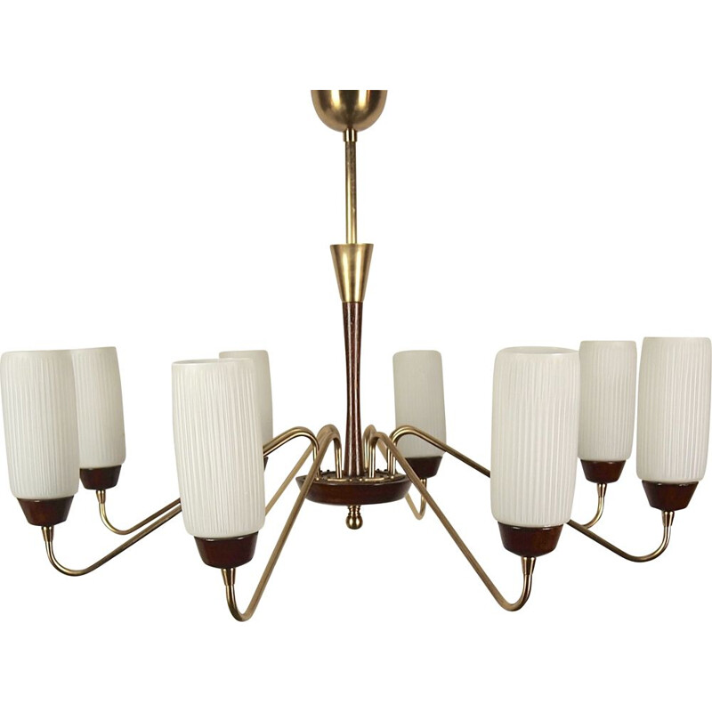 Vintage chandelier in opaline, brass and wood, Italy 1950