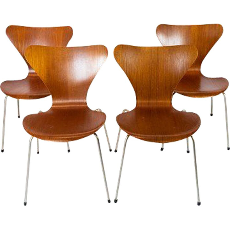 Set of 4 vintage Seven teak chairs, model 3107, by Arne Jacobsen for Fritz Hansen
