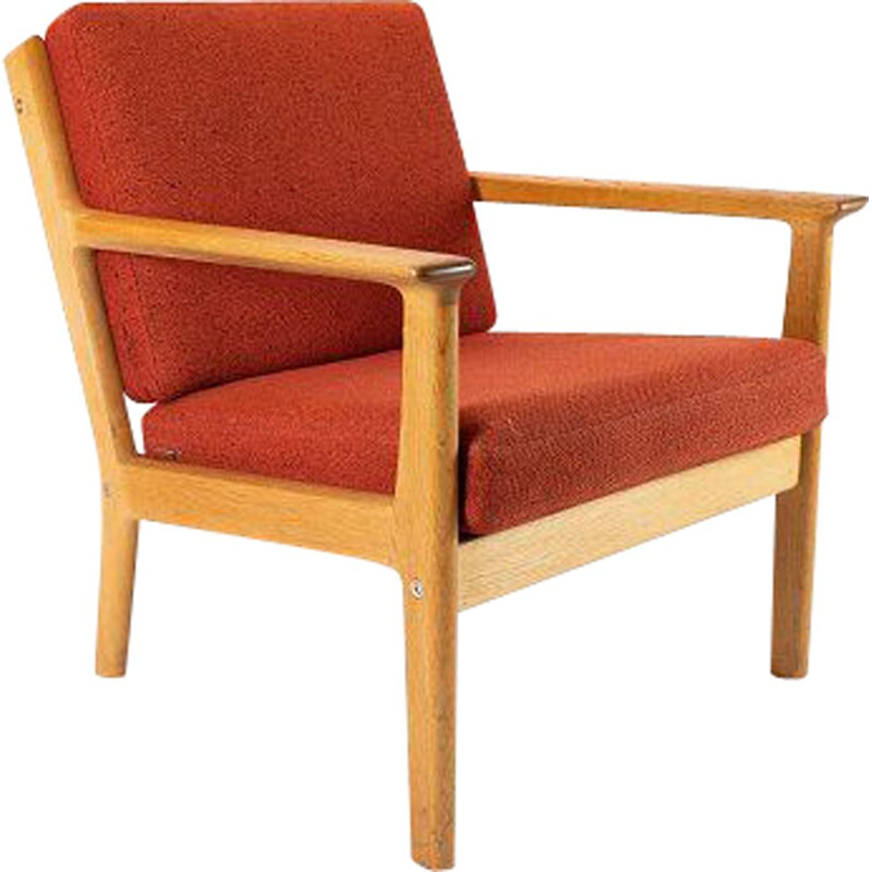 Vintage red wool and oak armchair by Hans J. Wegner by Getama 1960