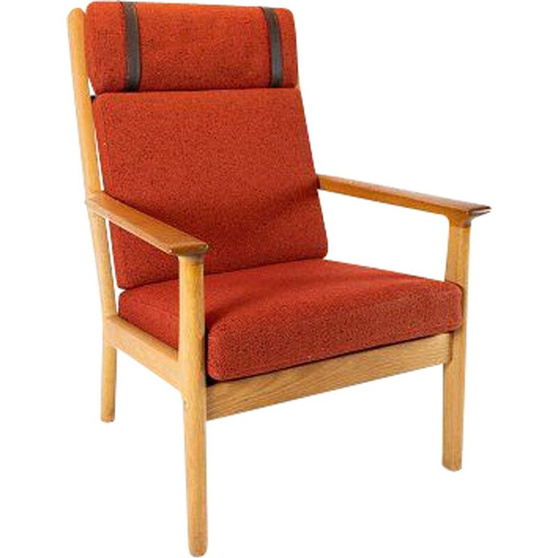 Vintage Tall easy chair in oak and red wool fabric by Hans J. Wegner and Getama 1960s