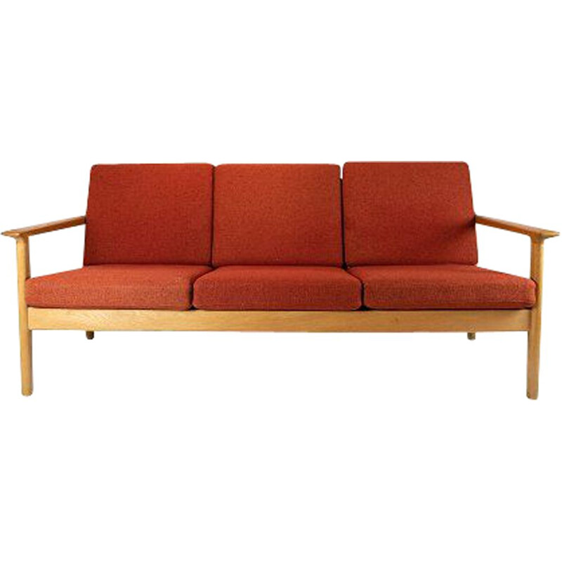 Vintage 3-seater sofa in oak and red wool fabric by Hans J. Wegner and Getama 1960