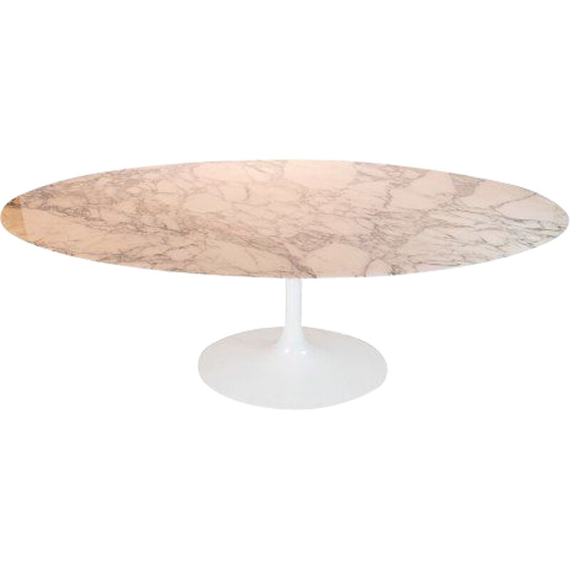 Vintage Tulip dining table with oval marble top by Eero Saarinen for Knoll Furniture 1957
