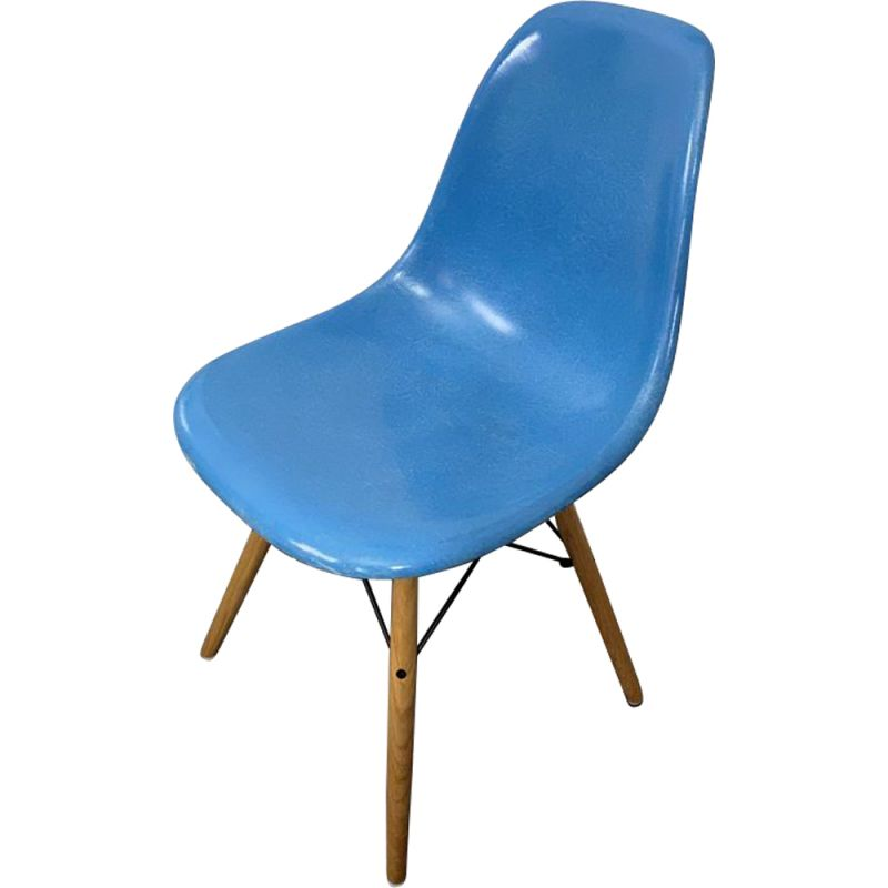 Vintage DSW turquoise blue Herman Miller edition chair by Charles & Ray Eames