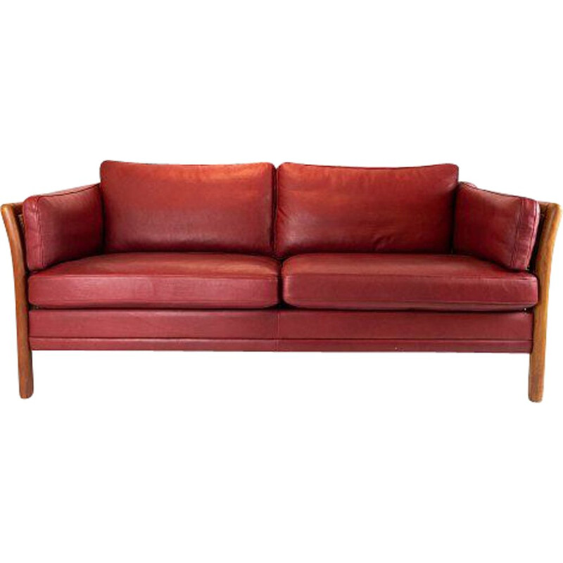 Vintage 2 seater sofa upholstered in Indian red leather, Denmark 1960