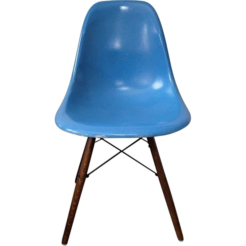 Vintage DSW turquoise blue walnut chair Herman Miller edition by Charles and Ray Eames